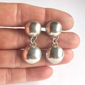 Signed Navajo Sterling Silver Dangle Earrings